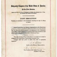 Joint Resolution Proposing the 19th Amendment, 1919