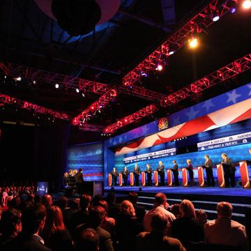 The CNBC Republican Presidential Debate: Your Money, Your Vote -- Pictured: (l-r) John Kasich, Mike Huckabee, Jeb Bush, Marco Rubio, Donald Trump, Ben Carson, Carly Fiorina, Ted Cruz, Chris Christie, and Rand Paul