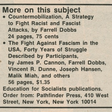 'Militant' Calls for Confronting Nazis, 1977 (2 of 2)