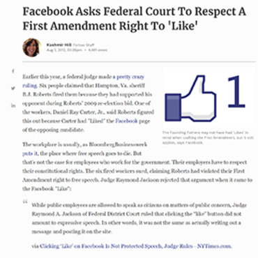 Facebook Argues 'Like' is Free Speech, 2012 Teaser