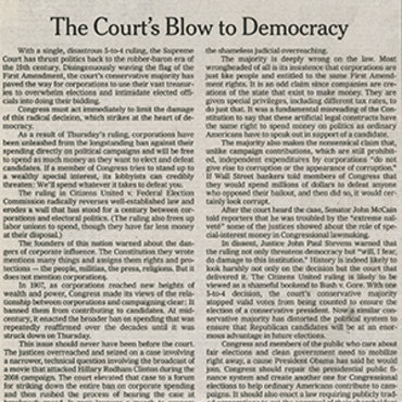 N.Y. 'Times' Covers Citizens United Ruling (3 of 3) teaser