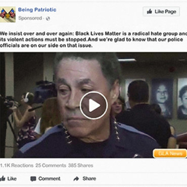 Being Patriotic — later shown to be a fake Russian-linked group on Facebook — published this video to cast Black Lives Matter as a radical hate movement.