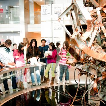 The 9/11 Gallery Sponsored by Comcast is a popular stop for teachers and students.
