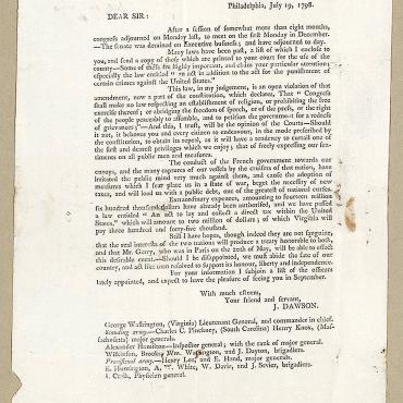Letter from Rep. John Dawson Opposing the Sedition Act