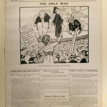 Political Cartoon of 1912 Election and Suffrage, Aug. 10, 1912