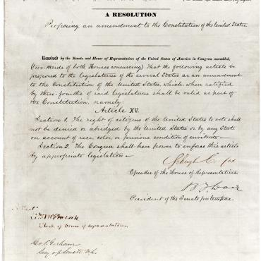 Joint Resolution Proposing the 15th Amendment, 1868