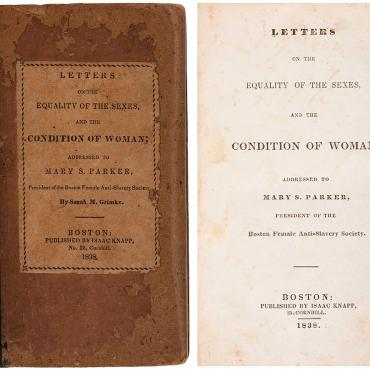 "Cover of Sarah Grimké's ""Letters on the Equality of the Sexes"""