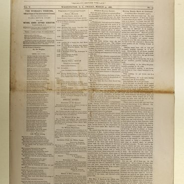 Newspaper for International Council of Women, March 30, 1888