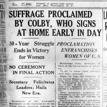 Newspaper Coverage of the Adoption of the 19th Amendment, 1920
