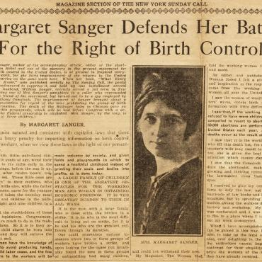 Editorial About Birth Control by Margaret Sanger, Dec. 5, 1915