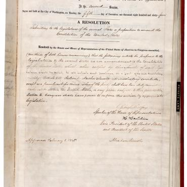 House Joint Resolution Proposing the 13th Amendment
