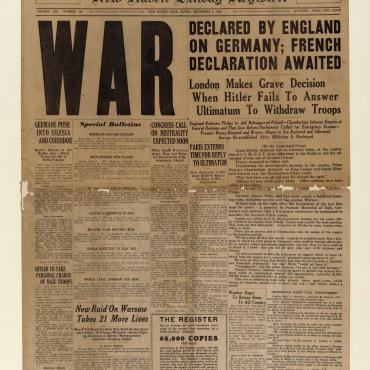News Coverage of UK's Declaration of War on Germany, Sept. 3, 1939