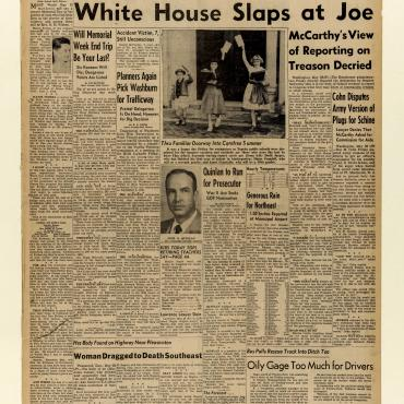 'White House Slaps at Joe [McCarthy]'