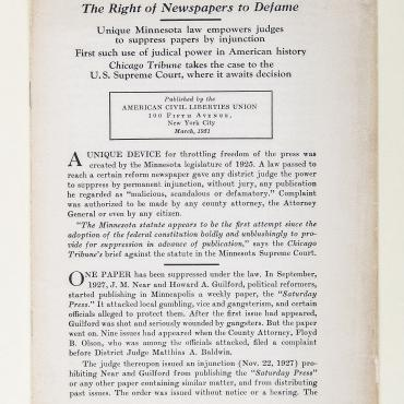 ACLU Supports 'The Right of Newspapers to Defame' (1 of 2)