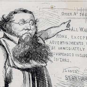 "This cartoon depicts Edwin Stanton as a Roman emperor, dressing him in a tunic and changing his signature to ""Stantonius."" An incensor is one who stirs up anger."