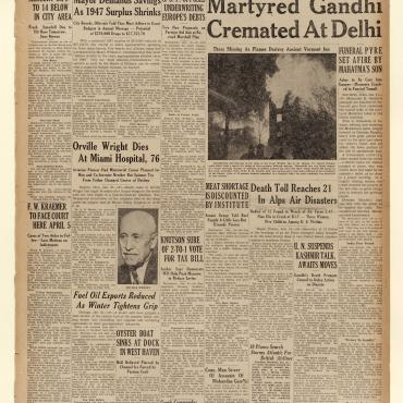 This New Haven Evening Register recounts Gandhi's funeral, the death of aviation pioneer Orville Wright and Republican proposals to revise the Marshall Plan.