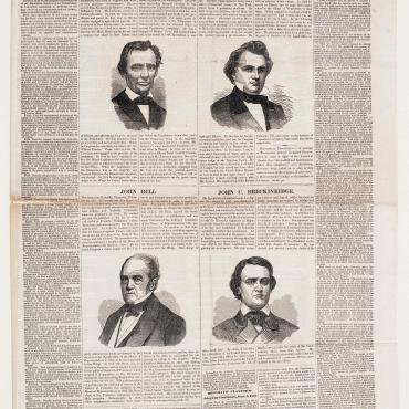 This Philadelphia Inquirer front page from June 28, 1860, gives short bios for each candidate and details each party's plan for the nation.
