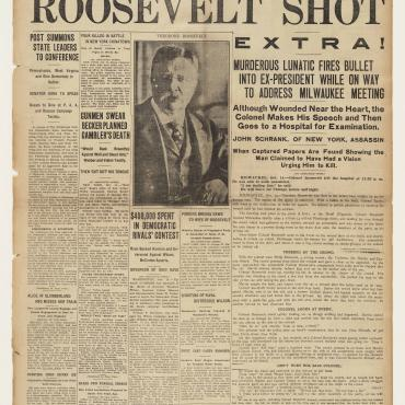 The Pittsburgh Post reports on the attempted assassination of Theodore Roosevelt and the trial of police lieutenant Charles Becker for the murder of Herman Rosenthal.