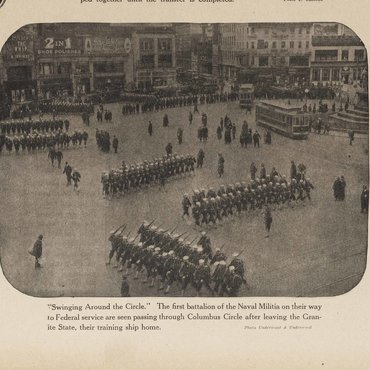 This photograph shows soldiers marching through Columbus Circle in New York City shortly after the U.S. formally entered WWI.